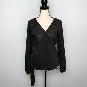 Theory Black Long Sleeve Blithe Wrap Top Large